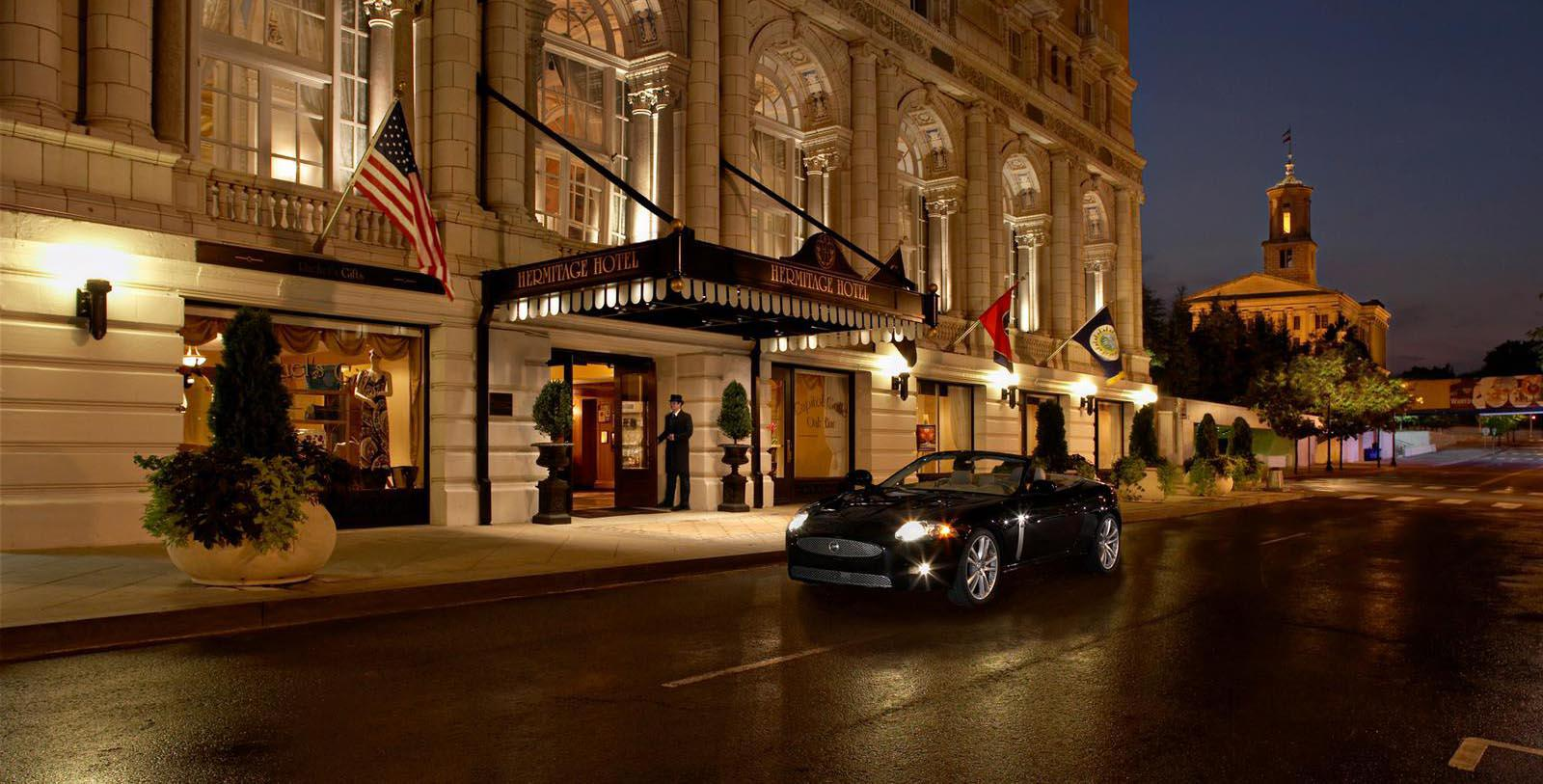 Image of Entrance with Car The Hermitage Hotel, 1910, Member of Historic Hotels of America, in Nashville, Tennessee, Special Offers, Discounted Rates, Families, Romantic Escape, Honeymoons, Anniversaries, Reunions