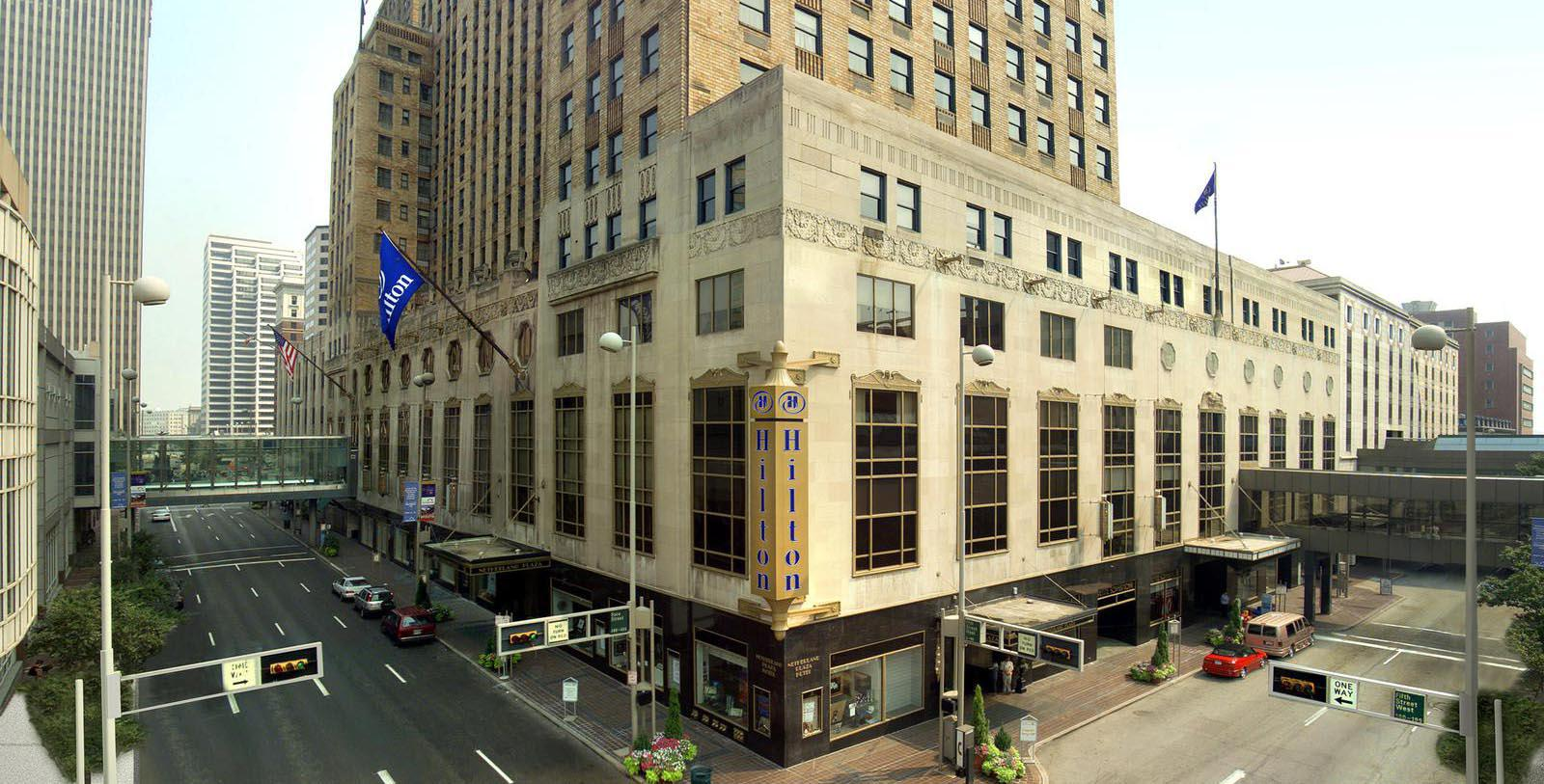 Image of hotel exterior Hilton Cincinnati Netherland Plaza, 1931, Member of Historic Hotels of America, in Cincinnati, Ohio,Special Offers, Discounted Rates, Families, Romantic Escape, Honeymoons, Anniversaries, Reunions