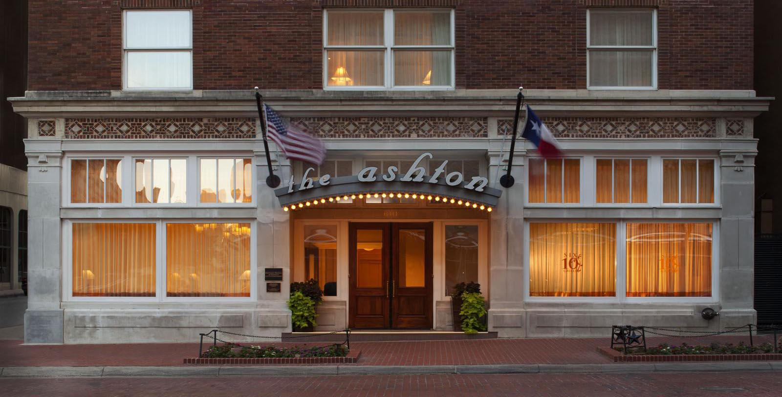 Image of Entrance The Ashton Hotel, 1915, Member of Historic Hotels of America, in Fort Worth, Texas, Special Offers, Discounted Rates, Families, Romantic Escape, Honeymoons, Anniversaries, Reunions