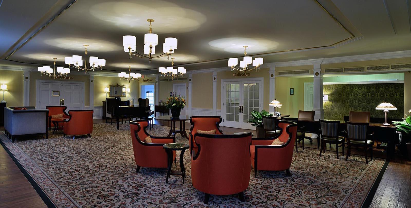 Image of Hotel Lobby at The Spa at Norwich Inn, 1929, Member of Historic Hotels of America, in Norwich, Connecticut, Special Offers, Discounted Rates, Families, Romantic Escape, Honeymoons, Anniversaries, Reunions