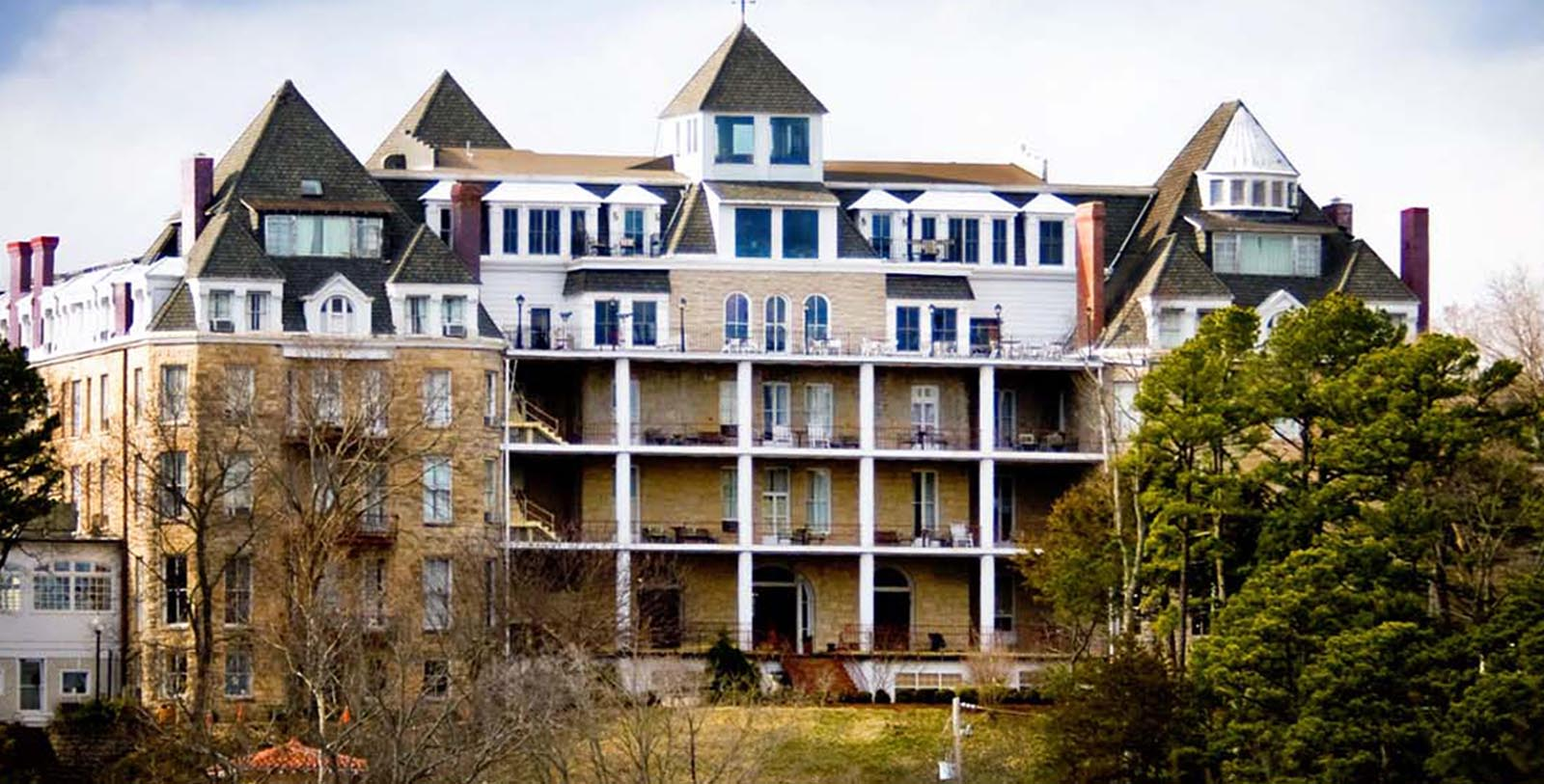 Image of Hotel Exterior 1886 Crescent Hotel & Spa, Member of Historic Hotels of America, in Eureka Springs, Arkansas, Special Offers, Discounted Rates, Families, Romantic Escape, Honeymoons, Anniversaries, Reunions