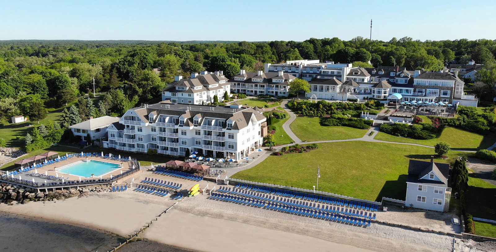 Image of Resort Exterior & Beach, Water's Edge Resort and Spa, Westbrook, Connecticut, 1920, Member of Historic Hotels of America, Special Offers, Discounted Rates, Families, Romantic Escape, Honeymoons, Anniversaries, Reunions