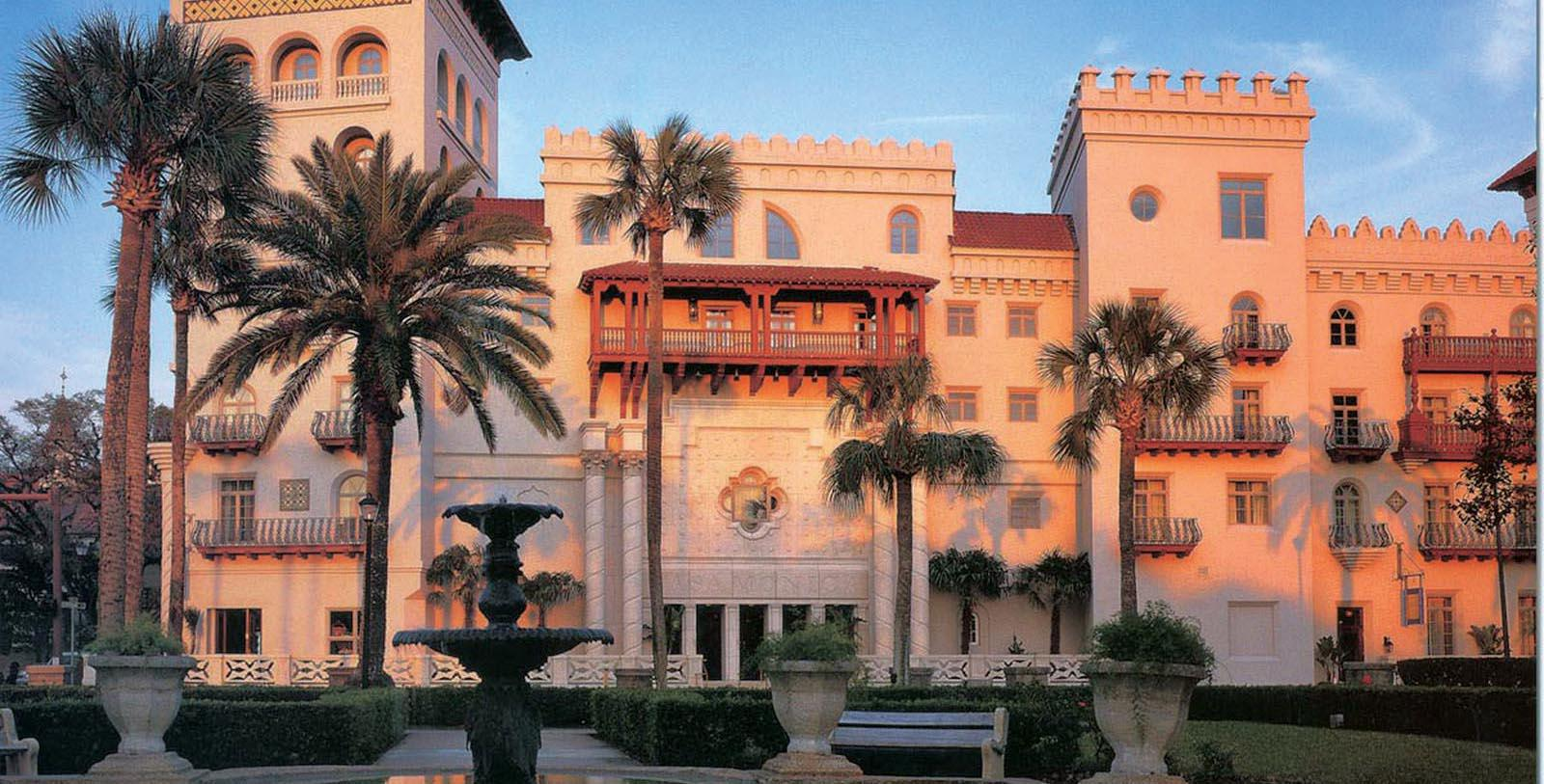 Image of hotel exterior in the evening at Casa Monica Resort & Spa, 1888, Member of Historic Hotels of America, in St. Augustine, Florida, Special Offers, Discounted Rates, Families, Romantic Escape, Honeymoons, Anniversaries, Reunions