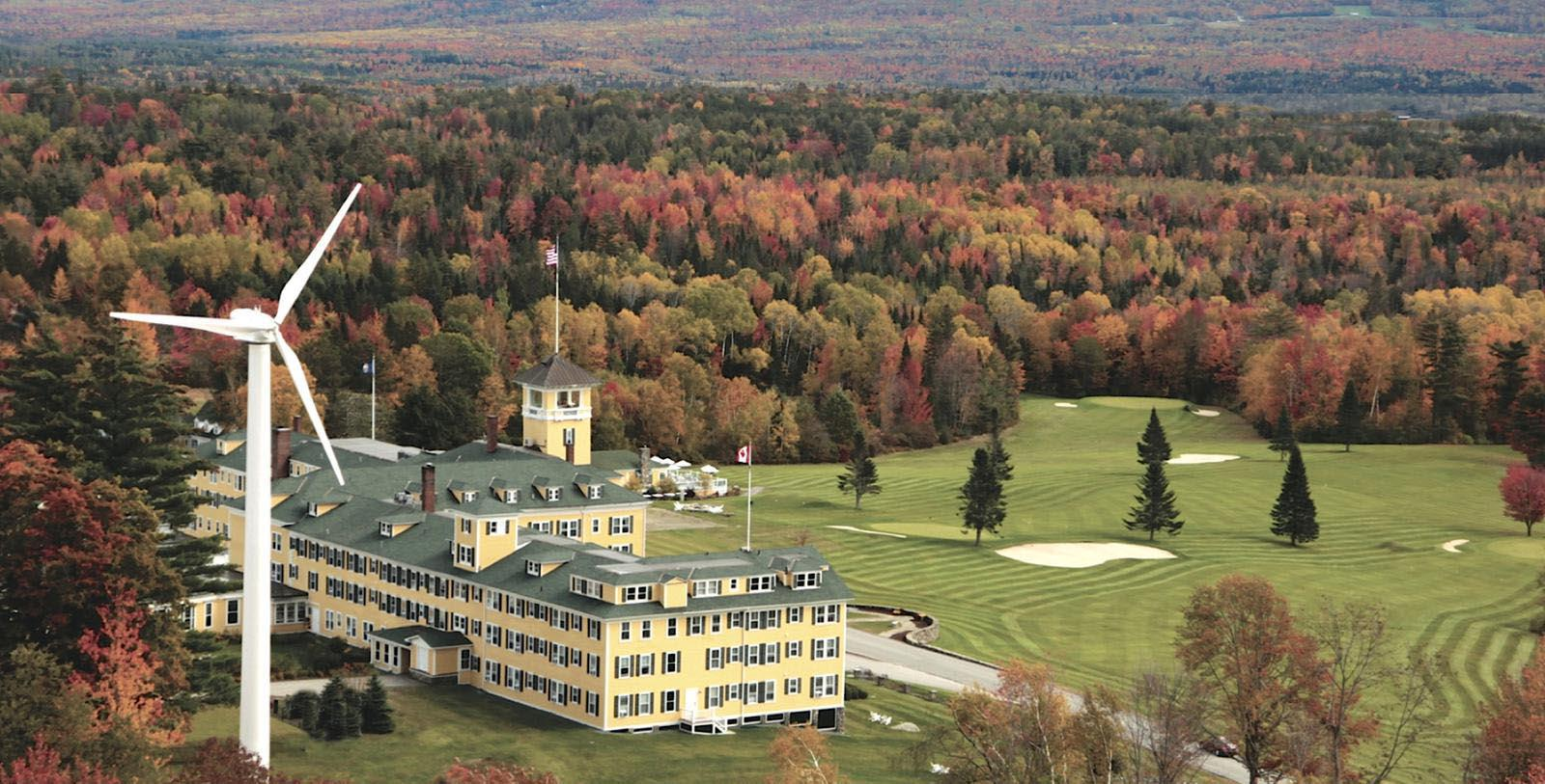 Image of Hotel Exterior & Golf Course, Mountain View Grand Resort & Spa in Whitefield, New Hampshire, 1865, Member of Historic Hotels of America, Special Offers, Discounted Rates, Families, Romantic Escape, Honeymoons, Anniversaries, Reunions
