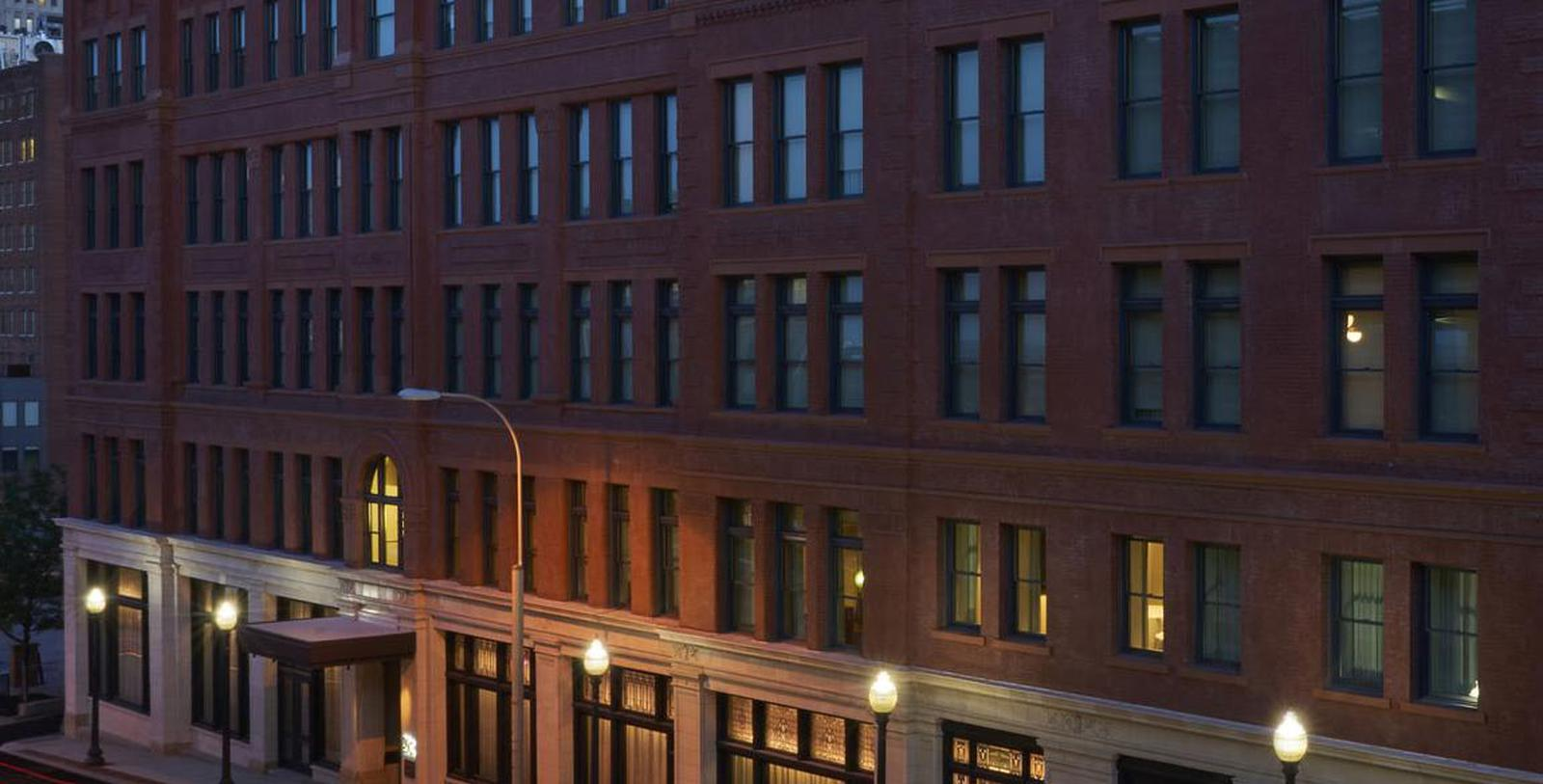 Image of hotel exterior 21c Museum Hotel Kansas City by MGallery, 1888, Member of Historic Hotels of America, in Kansas City, Special Offers, Discounted Rates, Families, Romantic Escape, Honeymoons, Anniversaries, Reunions