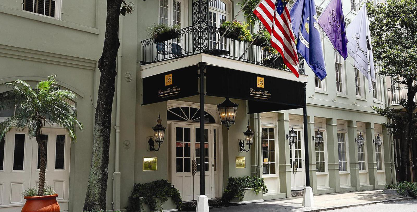 Image of hotel exterior and entryway at Bienville House, 1835, Member of Historic Hotels of America, in New Orleans, Louisiana, Special Offers, Discounted Rates, Families, Romantic Escape, Honeymoons, Anniversaries, Reunions