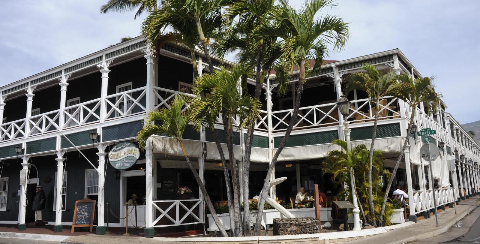 Image of Exterior of Pioneer Inn, 1901, Member Historic Hotels of America, in Lahaina, Hawaii, Special Offers, Discounted Rates, Families, Romantic Escape, Honeymoons, Anniversaries, Reunions