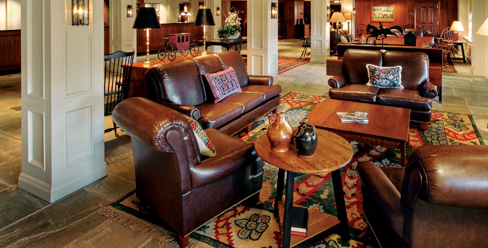 Image of hotel lobby Williamsburg Lodge, Autograph Collection, and Colonial Houses, 1750, Member of Historic Hotels of America, in Williamsburg Virginia, Special Offers, Discounted Rates, Families, Romantic Escape, Honeymoons, Anniversaries, Reunions