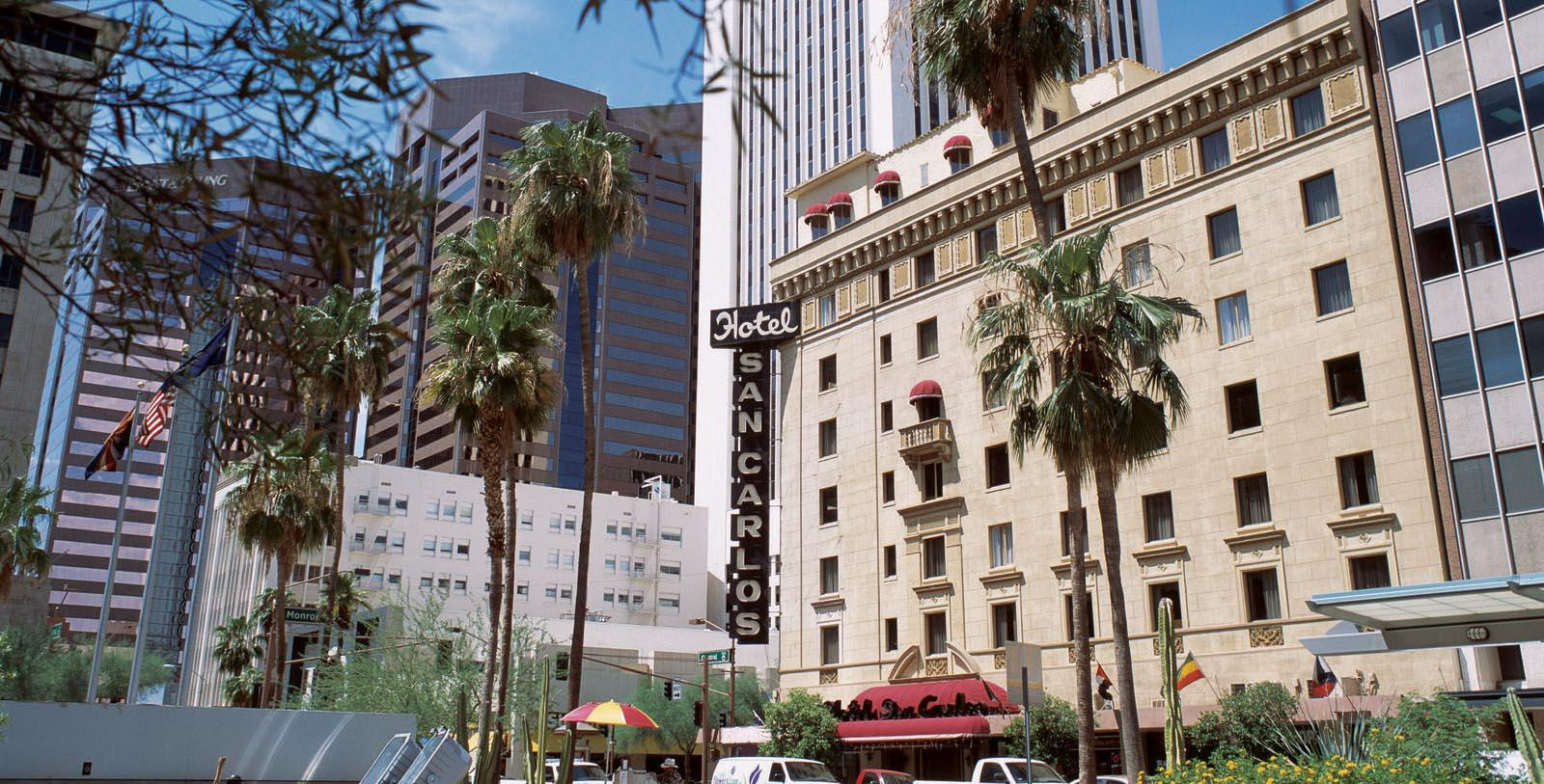 Image of Exterior, Hotel San Carlos in Phoenix Arizona, 1928, Member of Historic Hotels of America, Special Offers, Discounted Rates, Families, Romantic Escape, Honeymoons, Anniversaries, Reunions