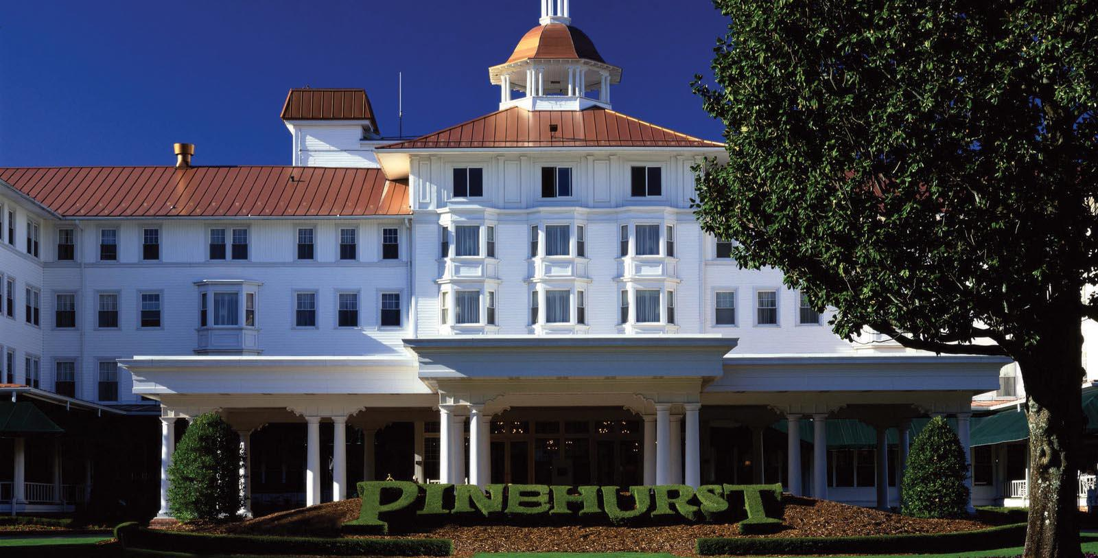 Image of Entrance to Pinehurst Resort, 1895, Member of Historic Hotels of America, in Village of Pinehurst, North Carolina, Special Offers, Discounted Rates, Families, Romantic Escape, Honeymoons, Anniversaries, Reunions
