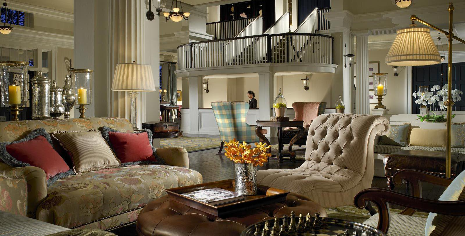 Image of Lobby Seating & Staircase, Omni Bedford Springs Resort & Spa, Bedford, Pennsylvania, 1806, Member of Historic Hotels of America, Special Offers, Discounted Rates, Families, Romantic Escape, Honeymoons, Anniversaries, Reunions