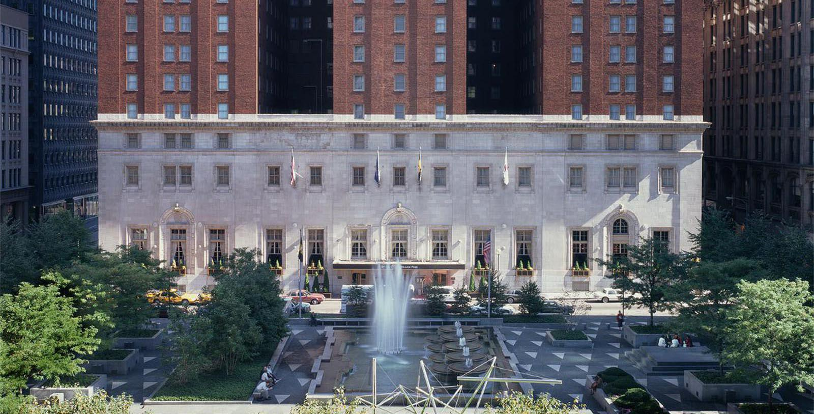Image of Exterior & Fountain, Omni William Penn Hotel, Pittsburgh, Pennsylvania, 1916, Member of Historic Hotels of America, Special Offers, Discounted Rates, Families, Romantic Escape, Honeymoons, Anniversaries, Reunions