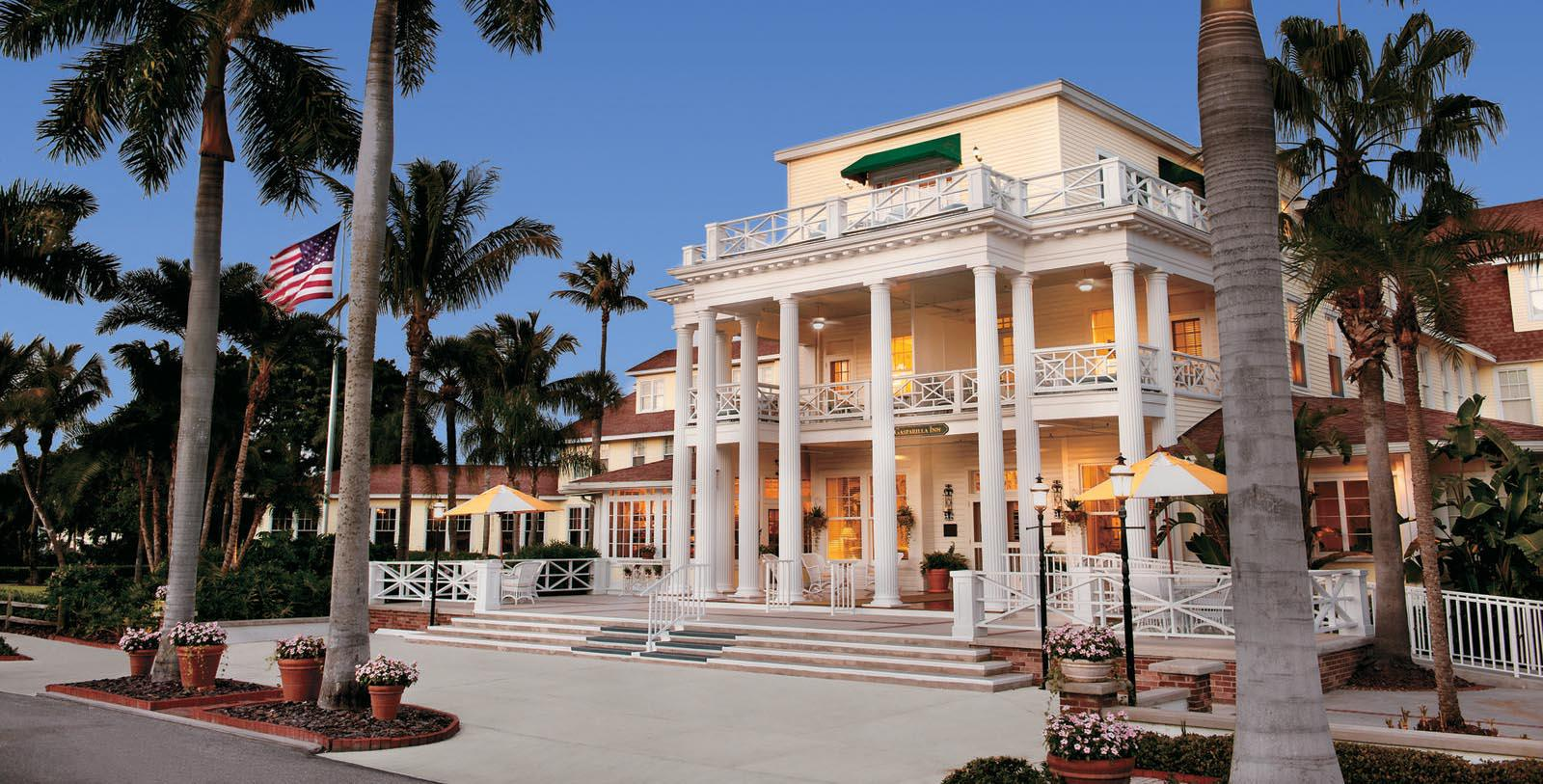 Image of Entrance The Gasparilla Inn & Club, 1913, Member of Historic Hotels of America, in Boca Grande, Florida, Special Offers, Discounted Rates, Families, Romantic Escape, Honeymoons, Anniversaries, Reunions
