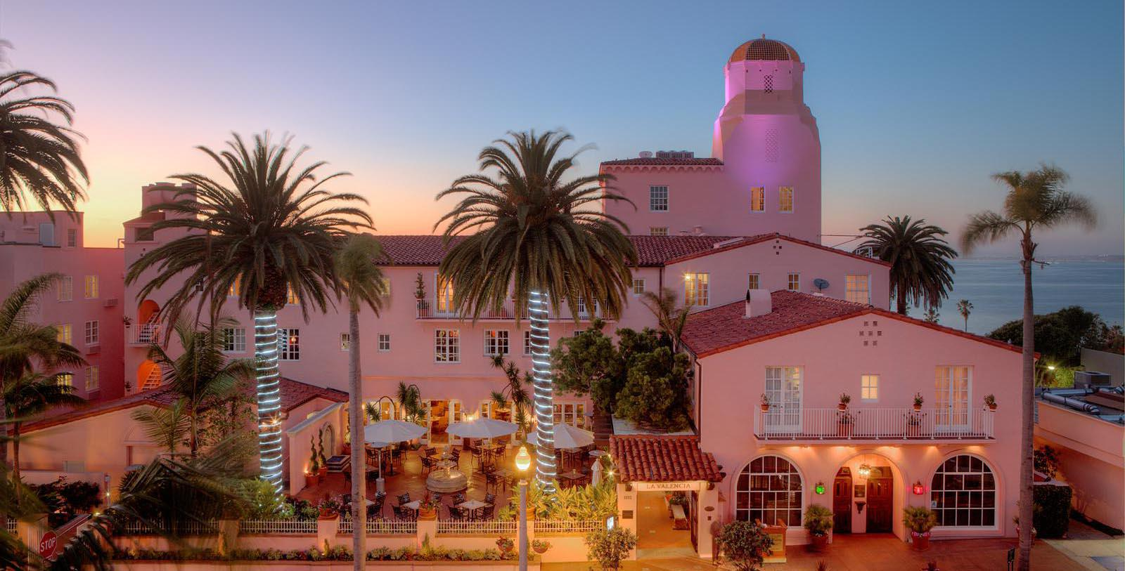 Image of Exterior at Night, La Valencia Hotel in La Jolla, Califronia, 1926, Member of Historic Hotels of America, Special Offers, Discounted Rates, Families, Romantic Escape, Honeymoons, Anniversaries, Reunions