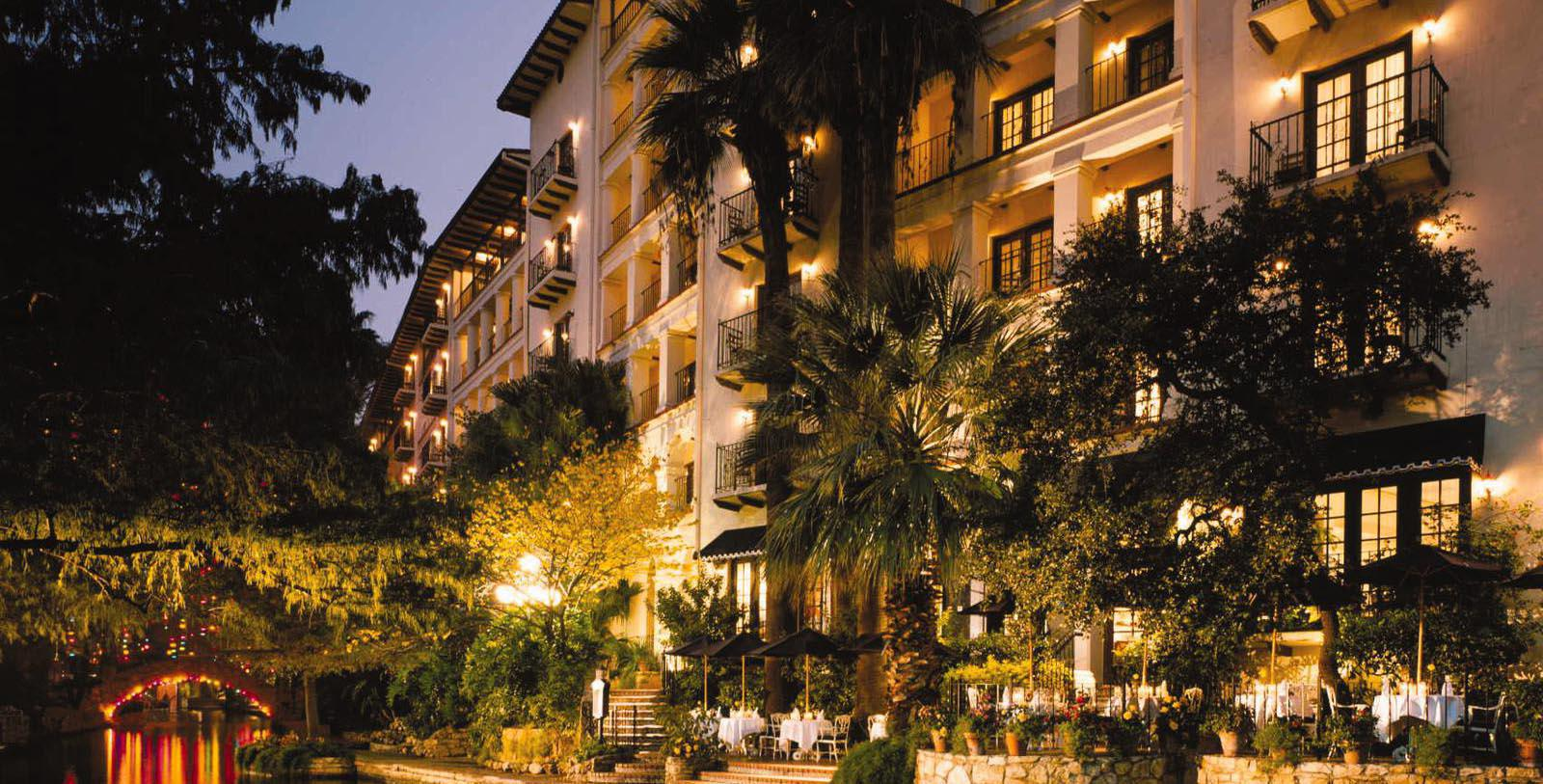 Image of Hotel Exterior & Riverwalk at Night, Omni La Mansion del Rio, San Antonio, Texas, 1852, Member of Historic Hotels of America, Special Offers, Discounted Rates, Families, Romantic Escape, Honeymoons, Anniversaries, Reunions