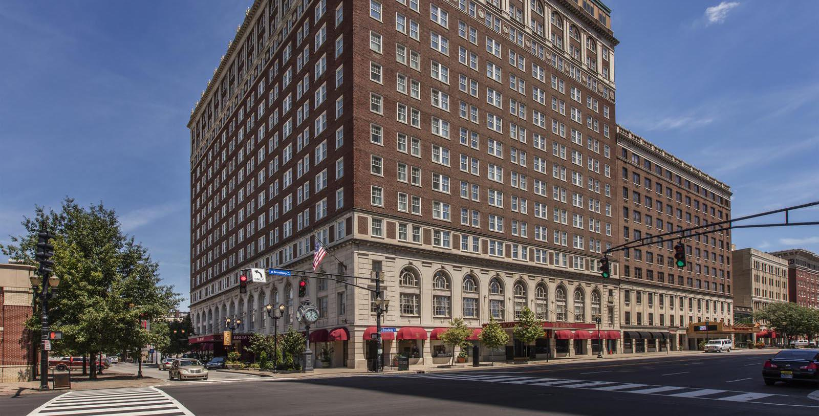 Image of Facade of The Brown Hotel, 1923, Member of Historic Hotels of America, in Louisville, Kentucky, Special Offers, Discounted Rates, Families, Romantic Escape, Honeymoons, Anniversaries, Reunions