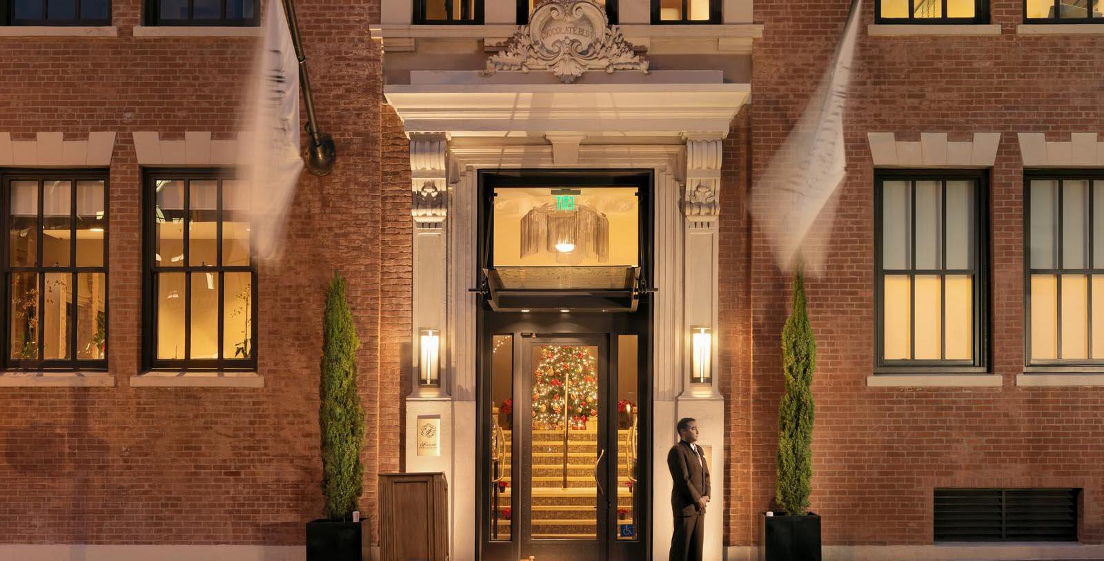 Image of hotel entrance at Fairmont Heritage Place, Ghirardelli Square, 1893, Member of Historic Hotels of America, in San Francisco, California, Special Offers, Discounted Rates, Families, Romantic Escape, Honeymoons, Anniversaries, Reunions