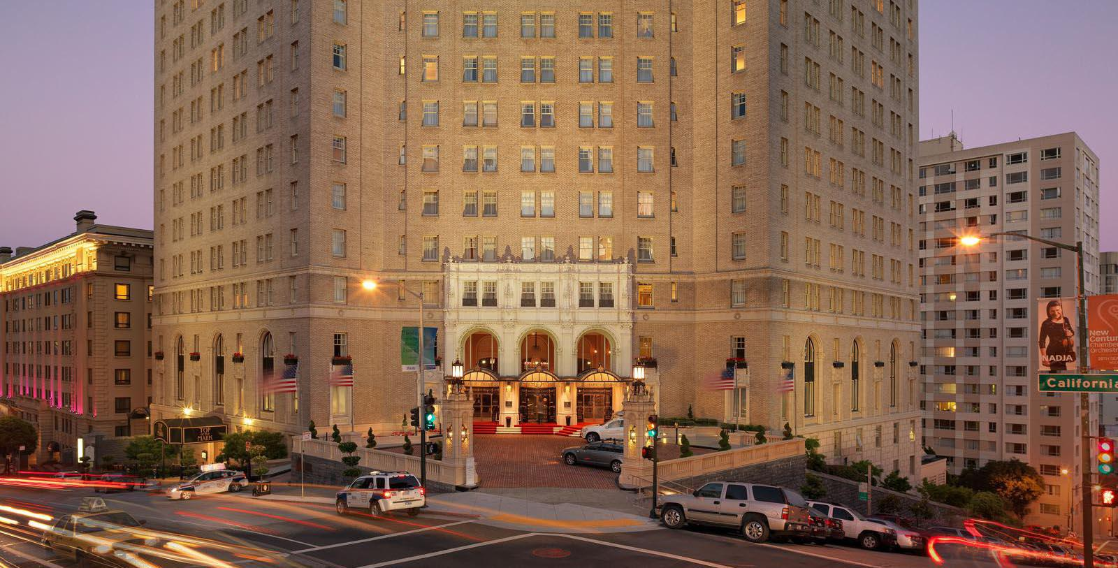 Image of Exterior at Night, InterContinental Mark Hopkins Hotel in San Francisco, California, 1926, Member of Historic Hotels of America, Special Offers, Discounted Rates, Families, Romantic Escape, Honeymoons, Anniversaries, Reunions