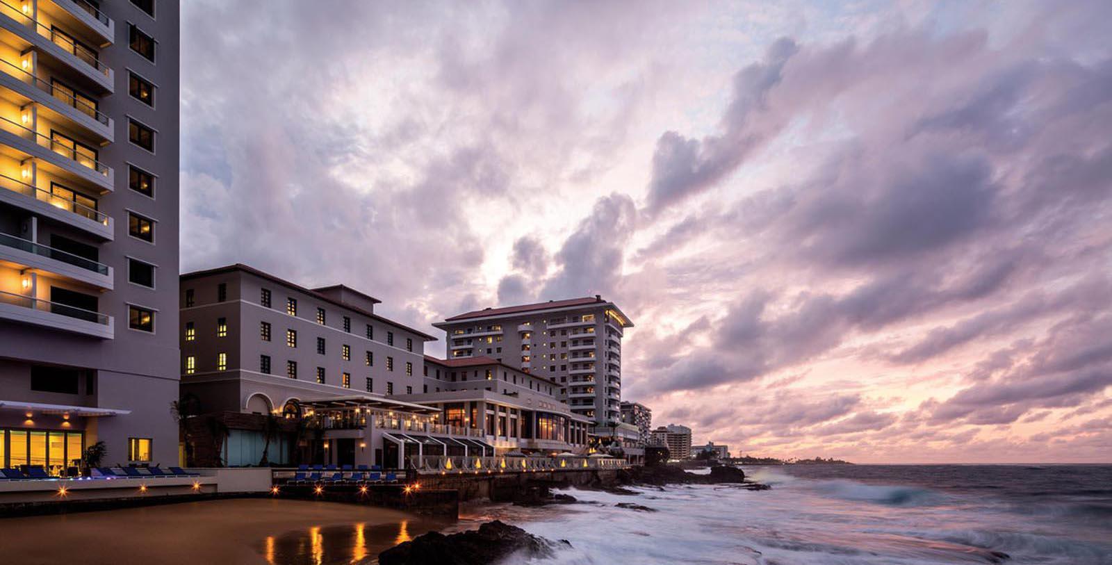 Image of hotel exterior at Condado Vanderbilt Hotel, 1919, Member of Historic Hotels of America, in San Juan, Puerto Rico, Special Offers, Discounted Rates, Families, Romantic Escape, Honeymoons, Anniversaries, Reunions