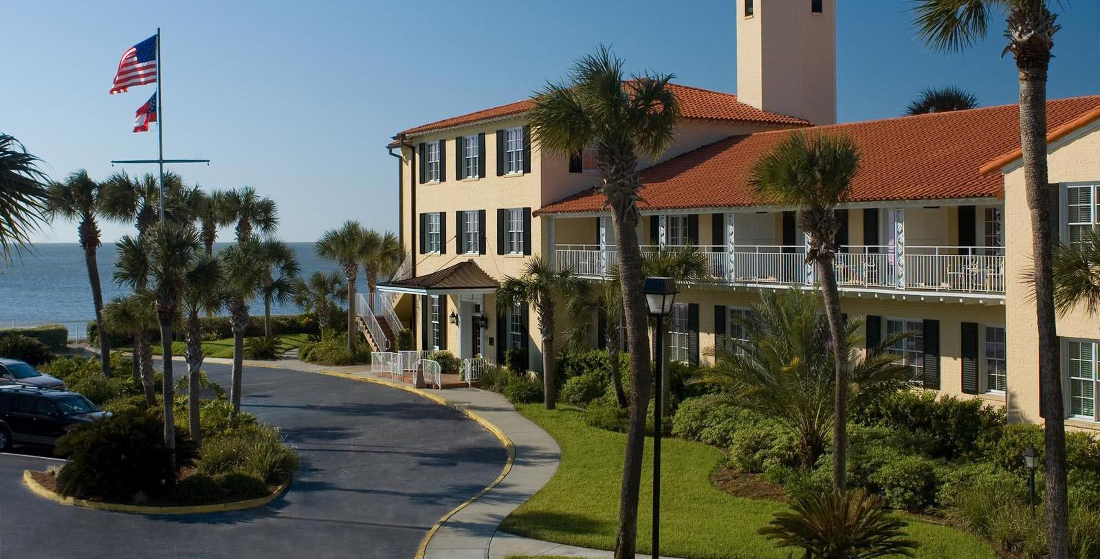 Image of Hotel Exterior The King and Prince Beach and Golf Resort, 1935, Member of Historic Hotels of America, on St. Simons Island, Georgia, Special Offers, Discounted Rates, Families, Romantic Escape, Honeymoons, Anniversaries, Reunions