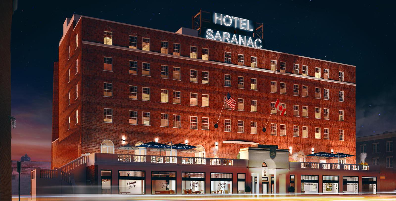 Image of Exterior at Night, Hotel Saranac, Curio Collection by Hilton in Saranac Lake, New York, 1927, Member of Historic Hotels of America, Special Offers, Discounted Rates, Families, Romantic Escape, Honeymoons, Anniversaries, Reunions