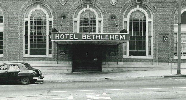 Historical Image of Exterior Front Entrance, Historic Hotel Bethlehem, 1922, Member of Historic Hotels of America, in Bethlehem, Pennsylvania.