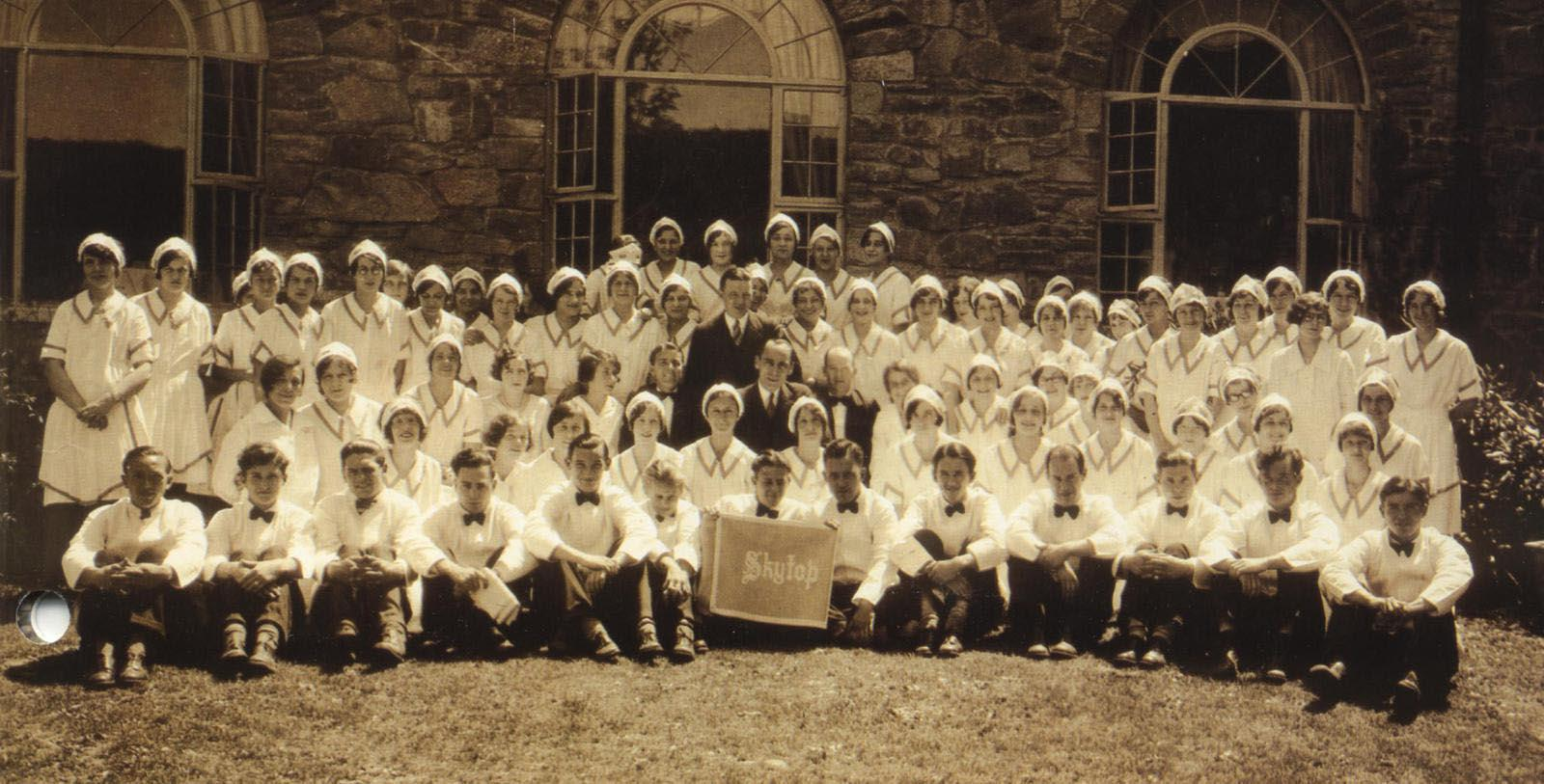 Historic Image of Staff Outside Skytop Lodge, 1928, Member of Historic Hotels of America, Skytop, Pennsylvania, Discover