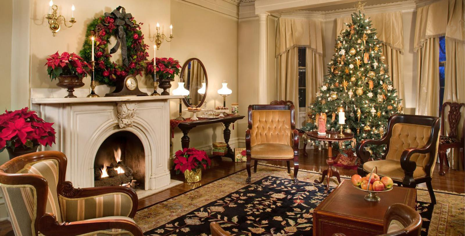 Image of Parlor at Christmas at The Sayre Mansion, 1858, Member of Historic Hotels of America, in Bethlehem, Pennsylvania, Special Occasions