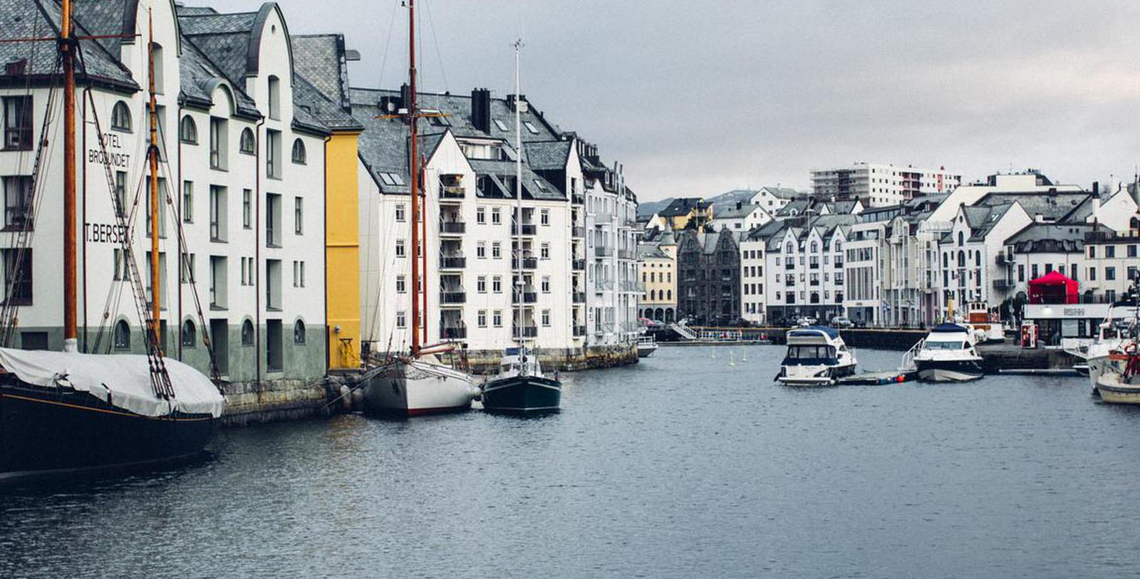 Image of Exterior & Boats, Hotel Brosundet, Alesund, Norway, 1904, Member of Historic Hotels Worldwide, Overview