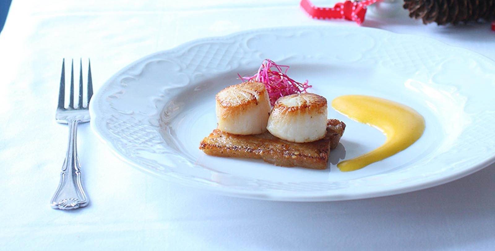 Image of Scallops at Restaurant, Hotel Union Øye, Norangsfjorden, Norway, 1891, Member of Historic Hotels Worldwide, Taste