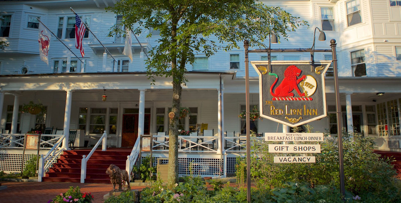 Image of Front Porch and Hotel Sign at The Red Lion Inn, 1773, Member of Historic Hotels of America, in Stockbridge, Massachusetts, Overview