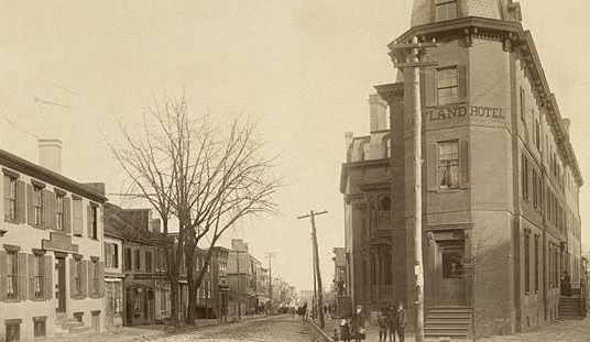 Historical Image of Maryland Inn Exterior Street View, Historic Inns of Annapolis, 1727, Member of Historic Hotels of America, in Annapolis, Maryland.