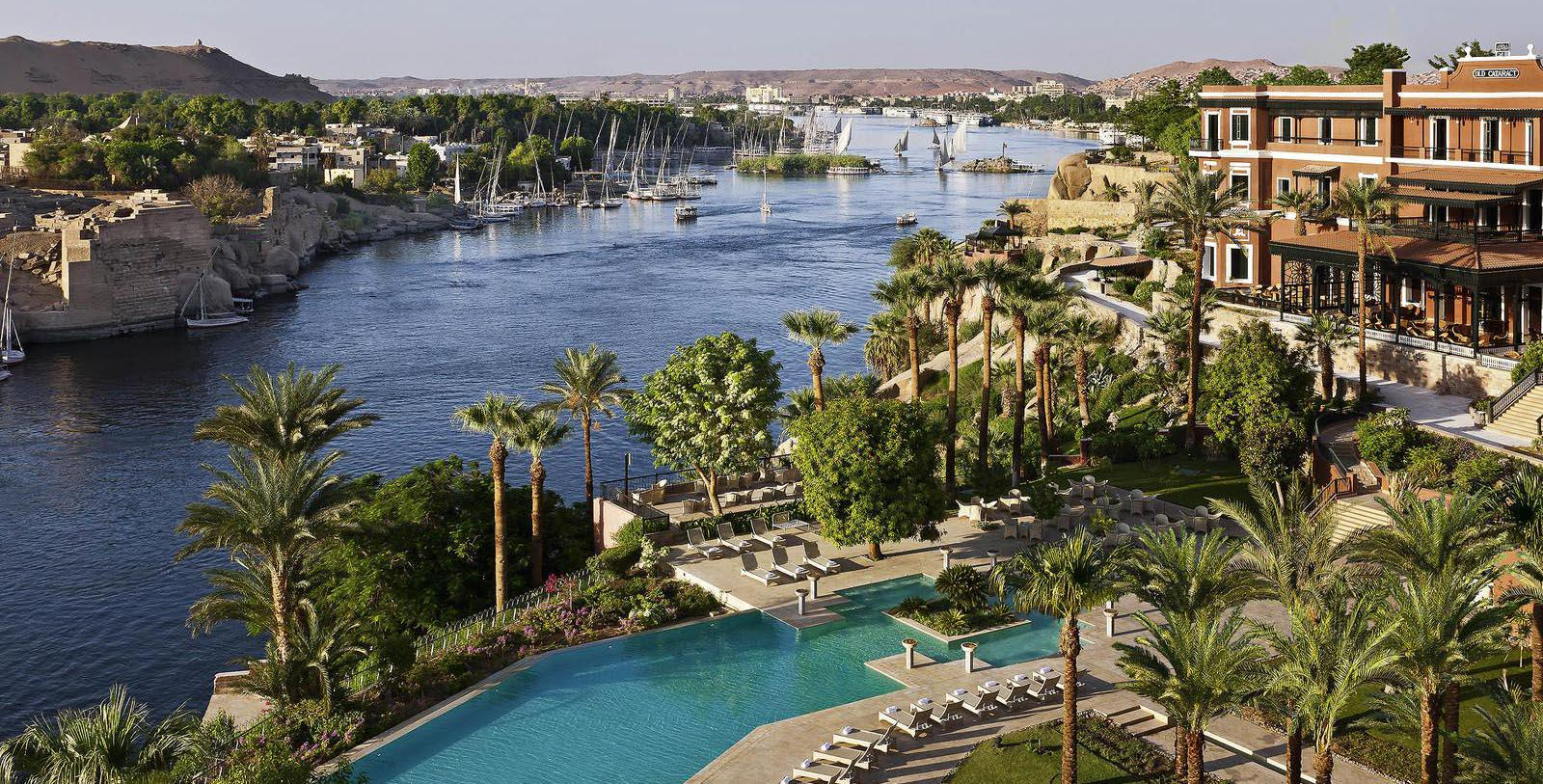 Image of Hotel Exterior Sofitel Legend Old Cataract Aswan, 1899, Member of Historic Hotels Worldwide, in Aswan, Egypt, Special Offers, Discounted Rates, Families, Romantic Escape, Honeymoons, Anniversaries, Reunions