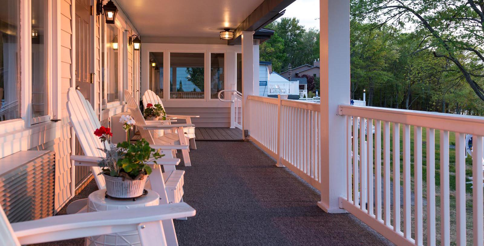Image of Porch Silver Birches,1929 Member of Historic Hotels of America, in Hawley, Pennsylvania, Hot Deals