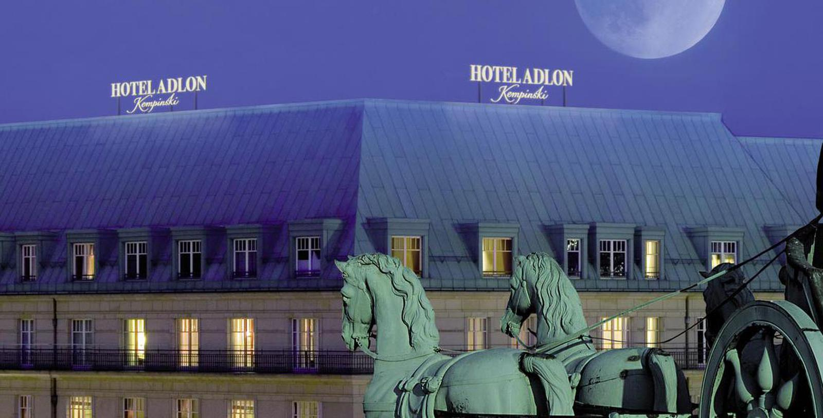 Image of Exterior at Night, Hotel Adlon Kempinski, Berlin, Germany, 1907, Member of Historic Hotels Worldwide, Special Offers, Discounted Rates, Families, Romantic Escape, Honeymoons, Anniversaries, Reunions