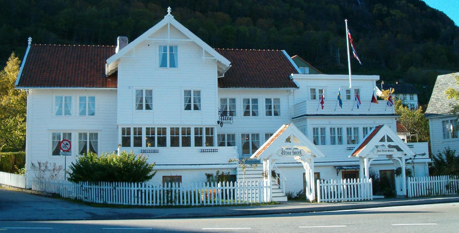 Image of Hotel Exterior Utne Hotel, 1722, Member of Historic Hotels Worldwide, in Utne, Norway, Special Offers, Discounted Rates, Families, Romantic Escape, Honeymoons, Anniversaries, Reunions