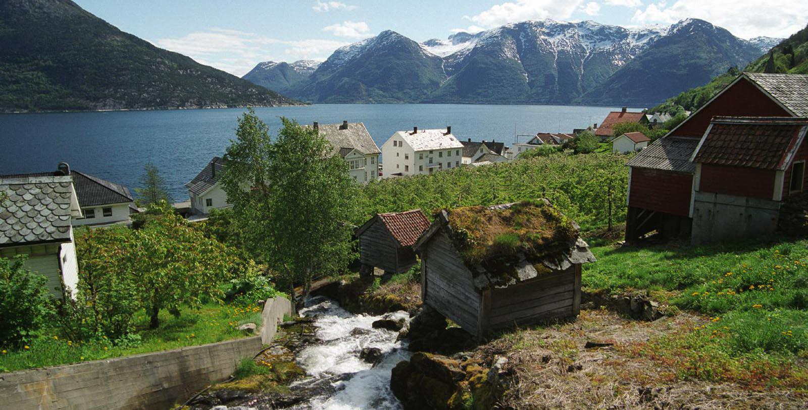 Image of Hotel Exterior and Fjord at Utne Hotel, 1722, Member of Historic Hotels Worldwide, in Utne, Norway, Explore