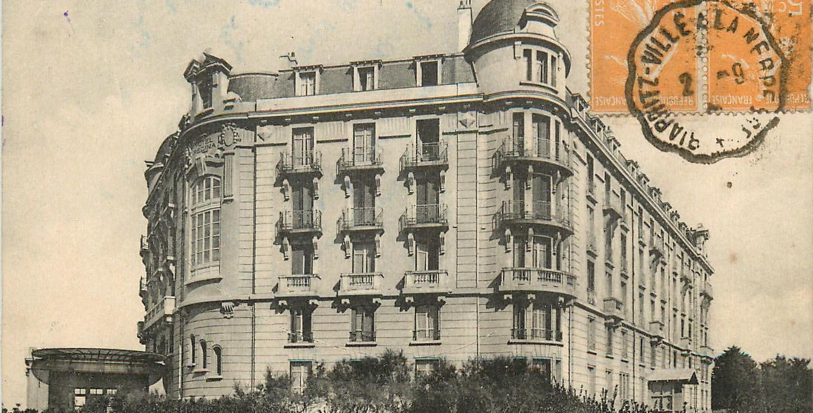Historic Image of Hotel Exterior on Postcard Le Régina Biarritz Hôtel & Spa - MGallery by Sofitel, 1907, Member of Historic Hotels Worldwide, in Biarritz, France, Discover