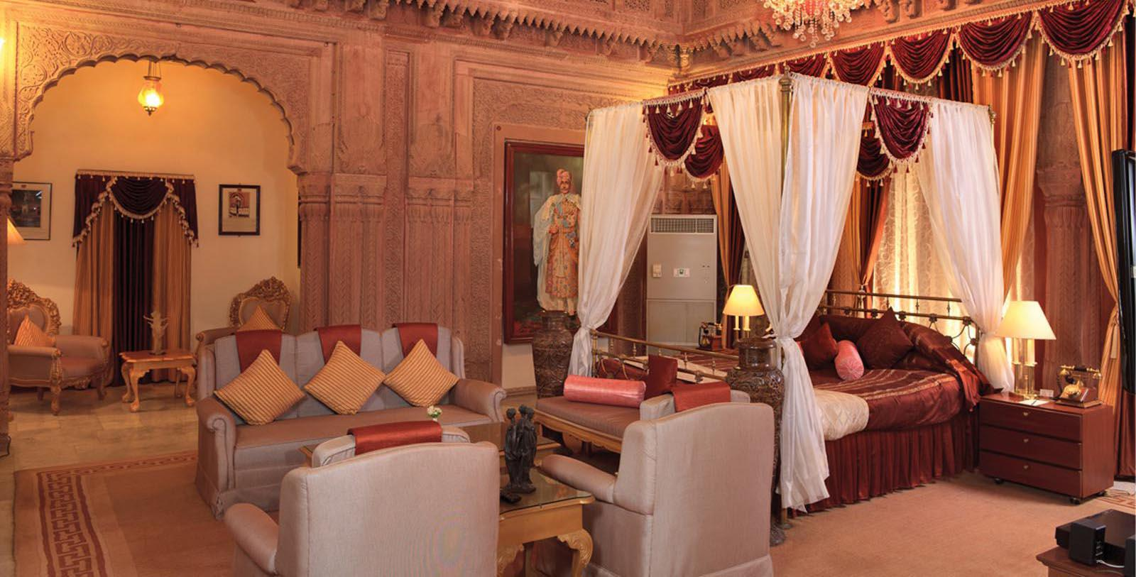 Image of Guestroom Interior Laxmi Niwas Palace, 1904, Member of Historic Hotels Worldwide, in Bikaner, India, Location