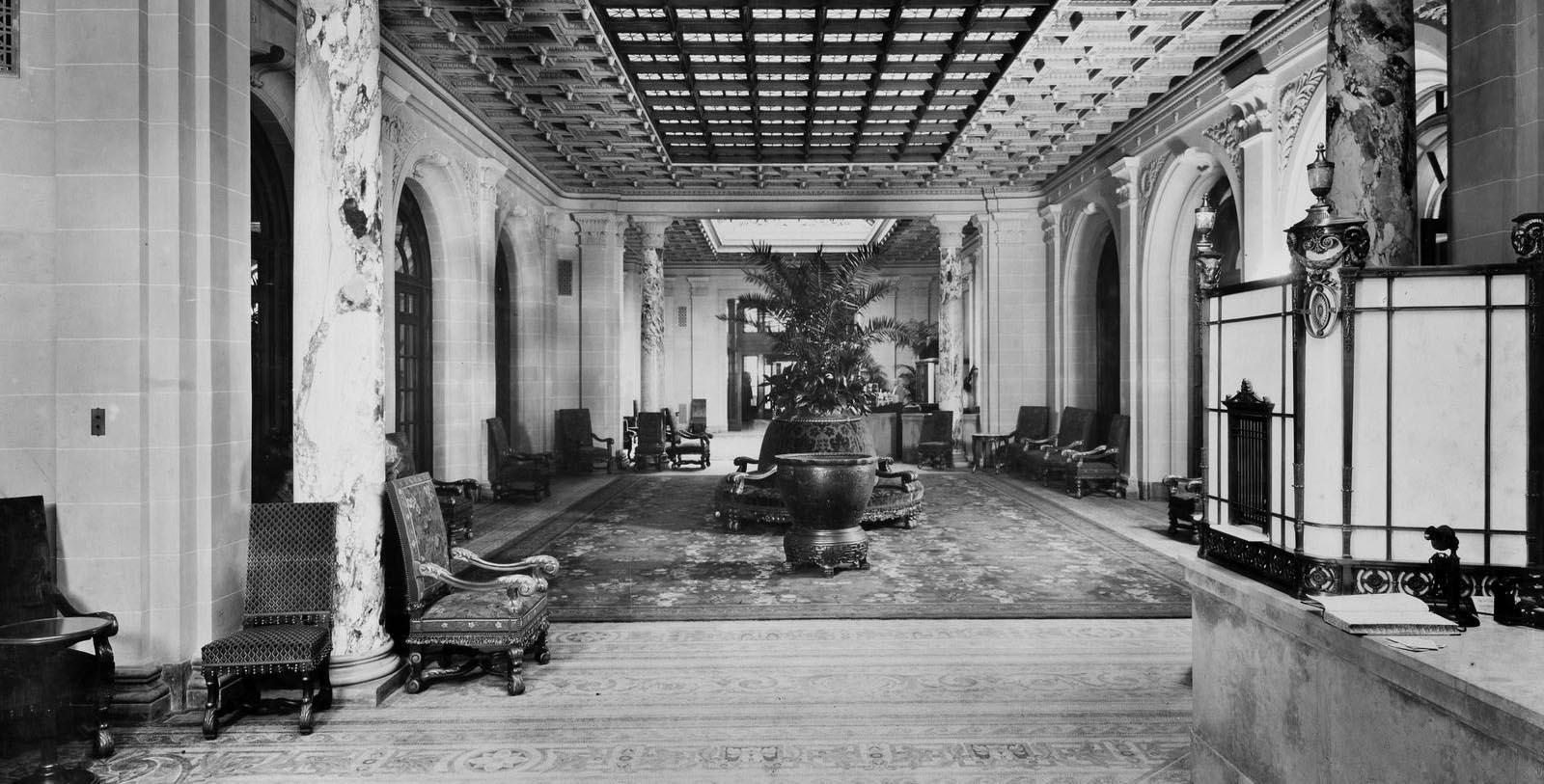 Historic image of hotel lobby at Fairmont Copley Plaza, 1912, Member of Historic Hotels of America, in Boston, Massachusetts, Discover