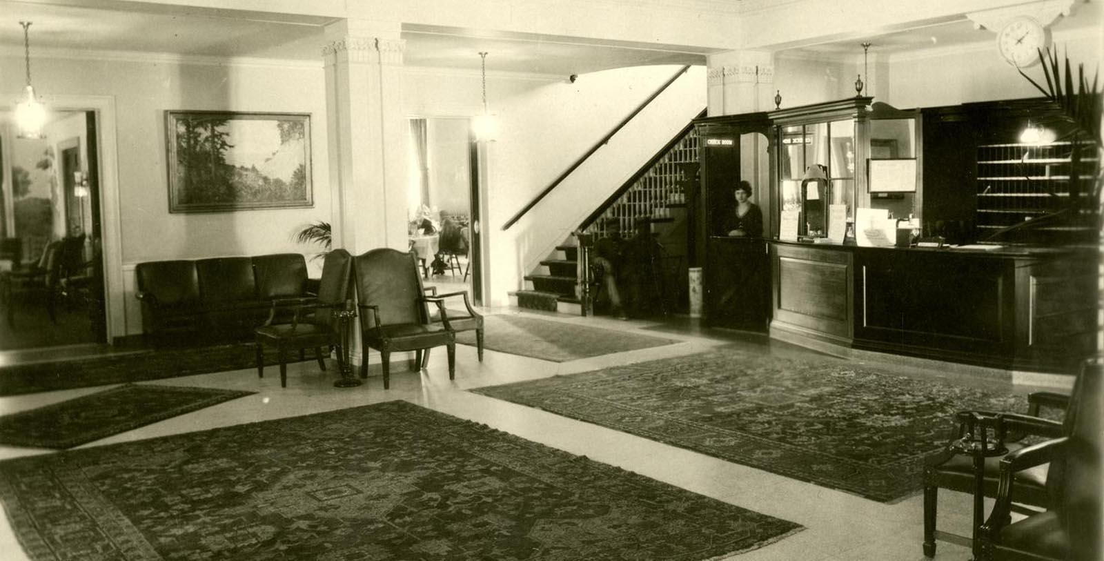 Historic image of lobby Hawthorne Hotel, 1925, Member of Historic Hotels of America, in Salem, Massachusetts, Discover