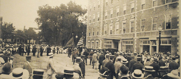 Historical Image of Parade Passing by Hotel Hawthorne, 1925, Member of Historic Hotels of America, in Salem, Massachusetts.