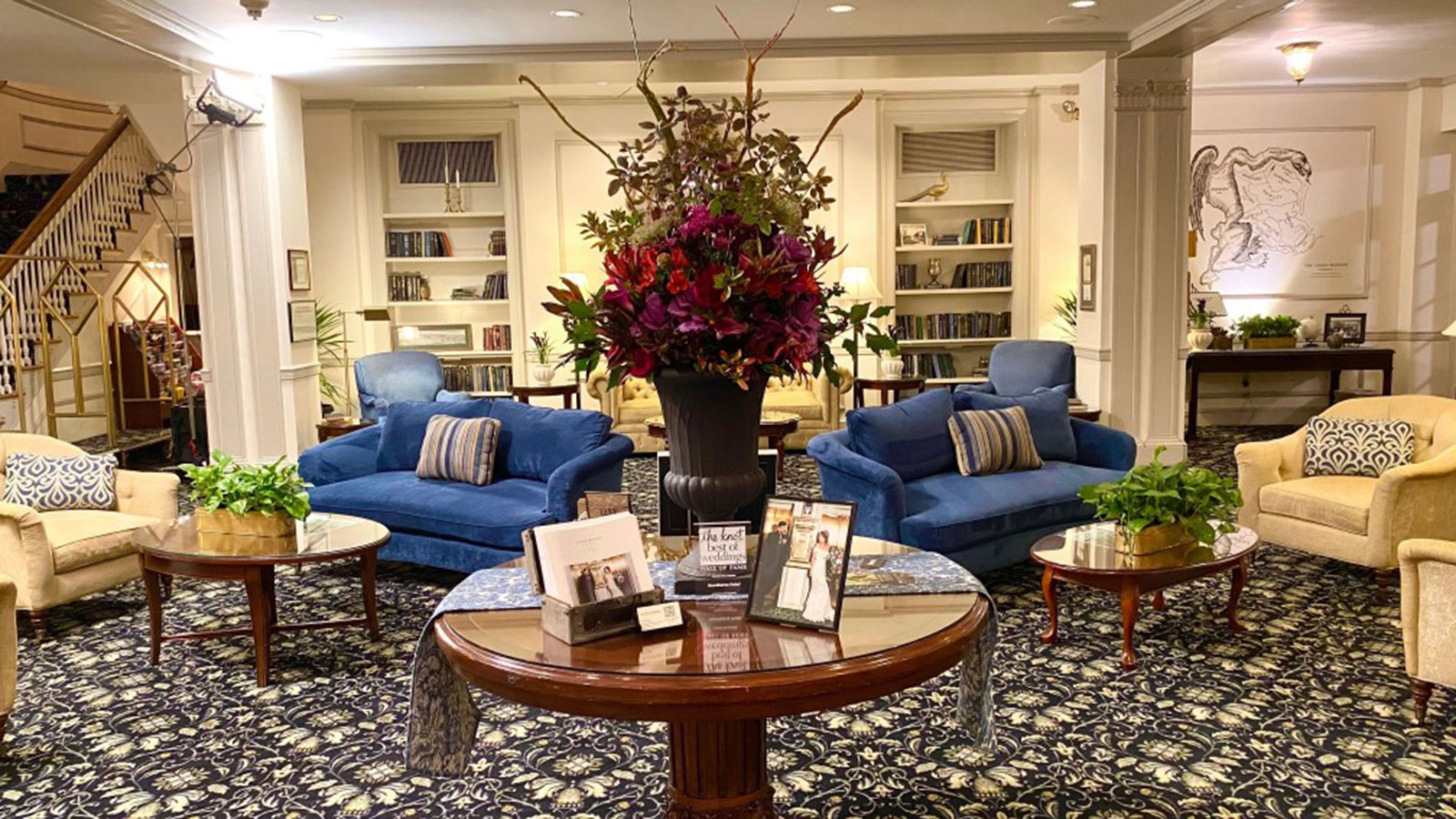 Image of lobby with flowers and plants Hawthorne Hotel, 1925, Member of Historic Hotels of America, in Salem, Massachusetts, Explore