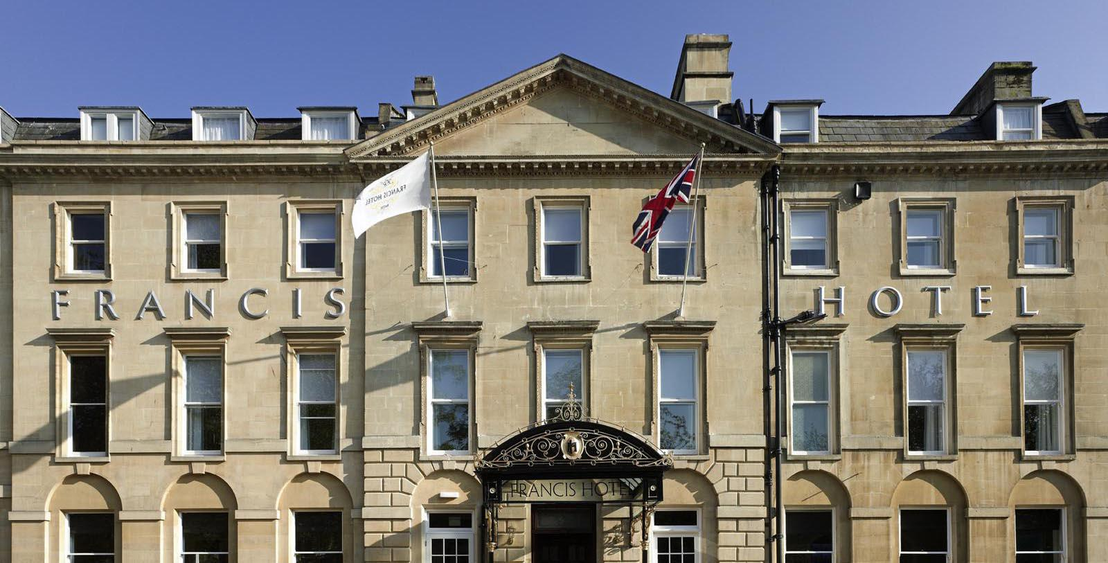Image of Hotel Exterior Francis Hotel Bath - MGallery by Sofitel, 1736, Member of Historic Hotels Worldwide, in Bath, England, Special Offers, Discounted Rates, Families, Romantic Escape, Honeymoons, Anniversaries, Reunions