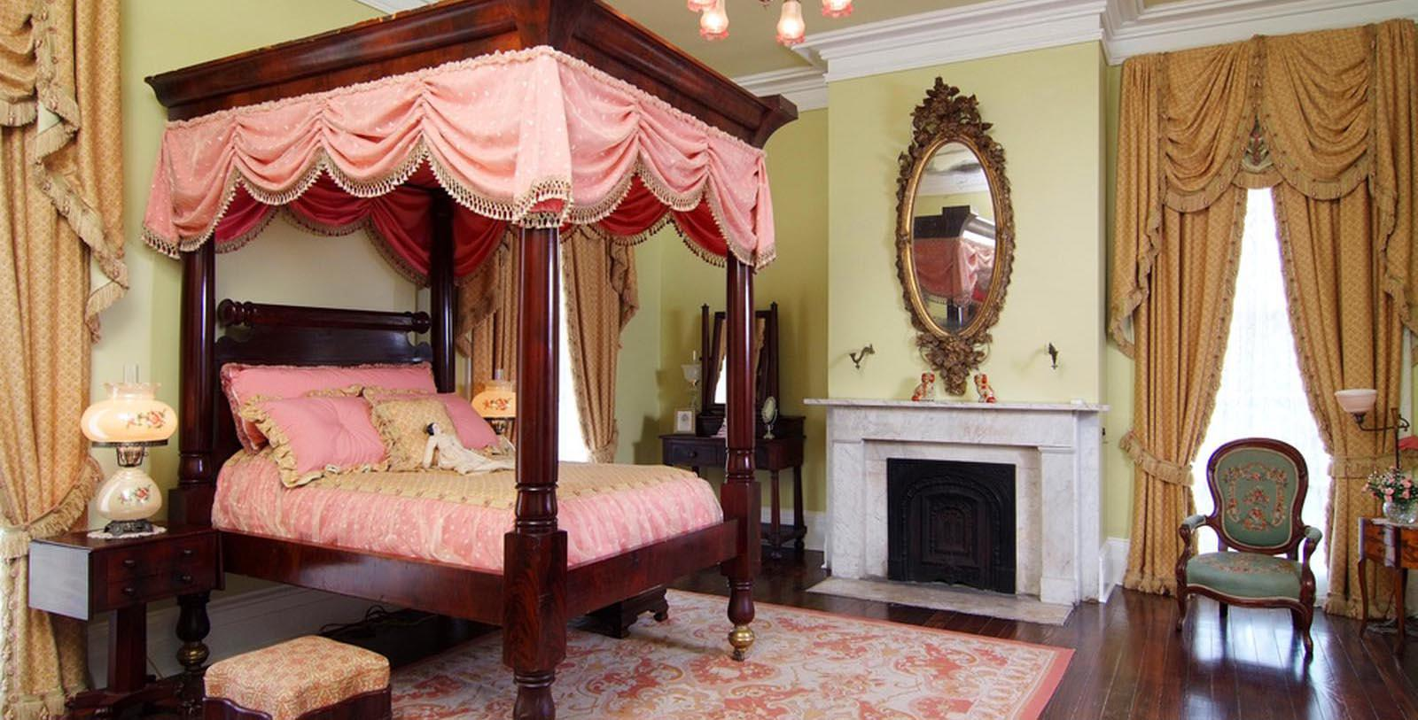 Image of Guestroom Interior, Nottoway Plantation and Resort, White Castle, Louisiana, 1859, Member of Historic Hotels of America, Location Map