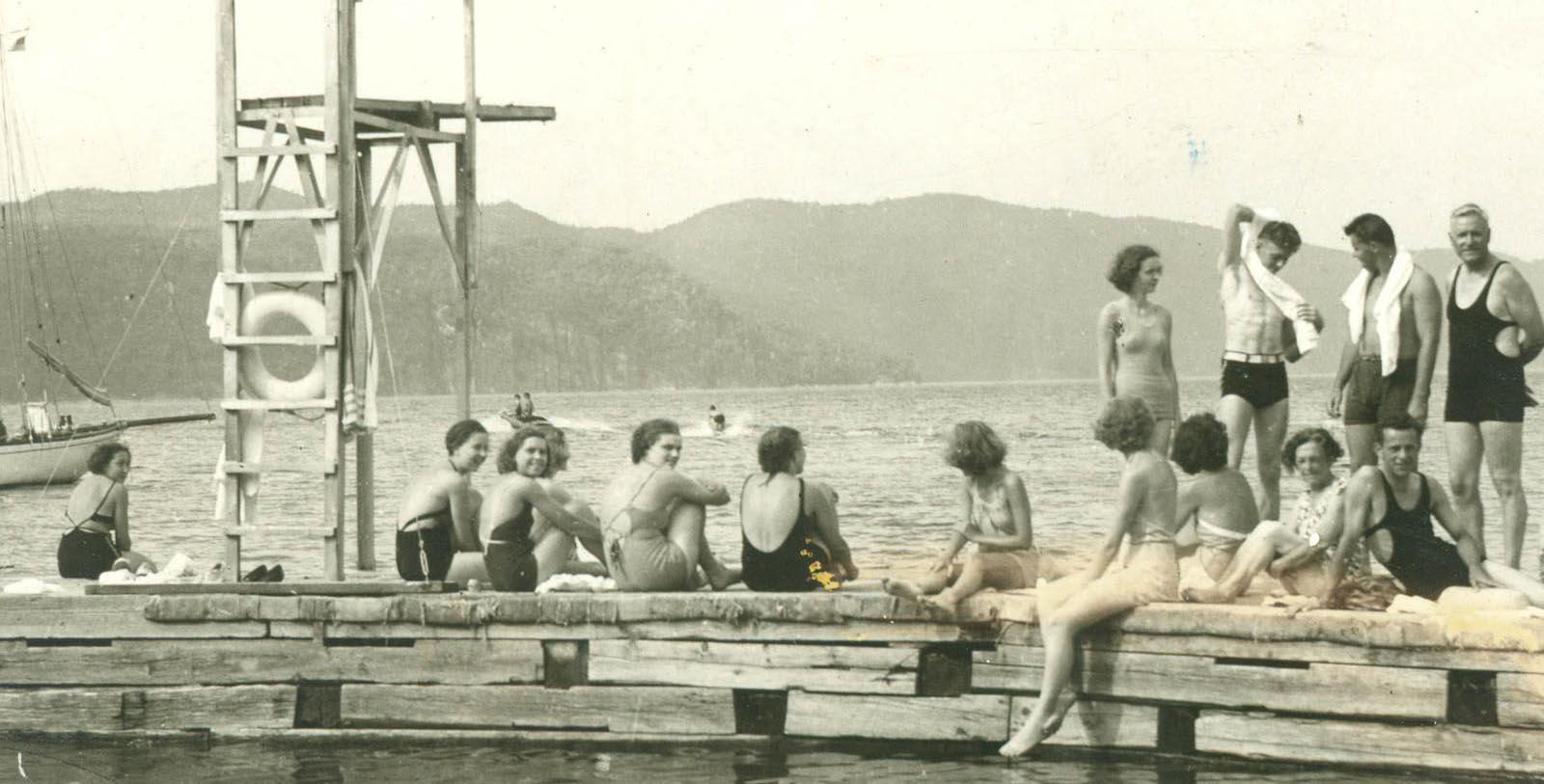 Historic image of people swimming at Basin Harbor, 1886, Member of Historic Hotels of America, in Vergennes, Vermont, Discover