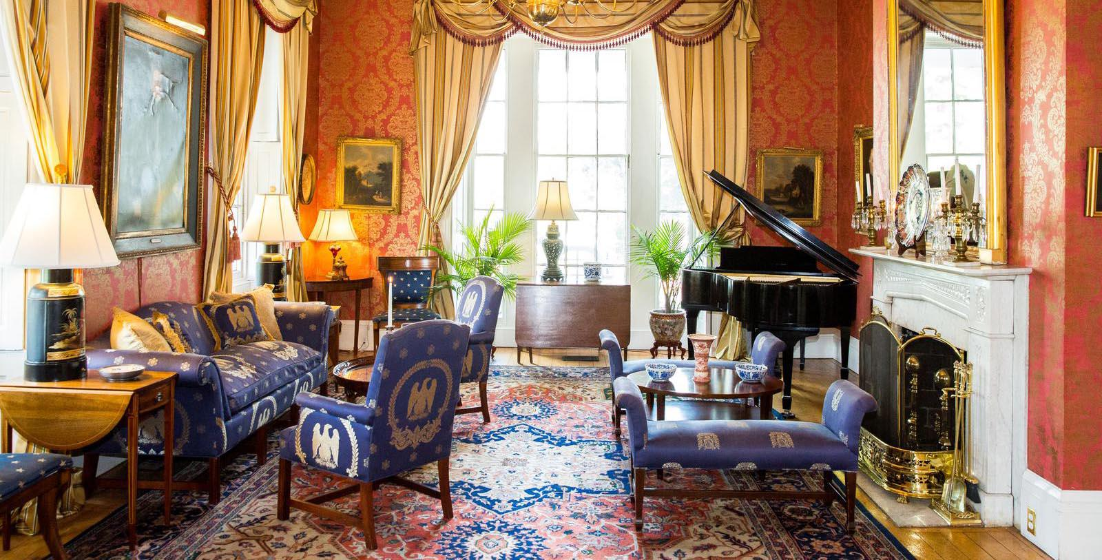 Image of Hotel Lobby with Grand Piano at Antrim 1844, Member of Historic Hotels of America, in Taneytown, Maryland, Discover