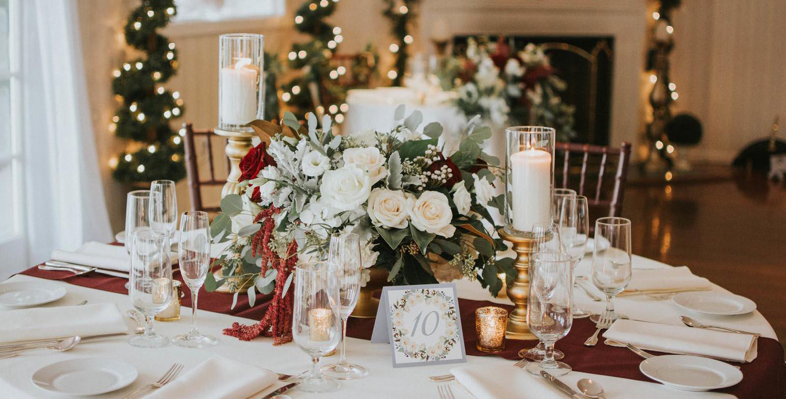 Image of Formal place setting with flowers for special event at Antrim 1844, Member of Historic Hotels of America, in Taneytown, Maryland, Experience