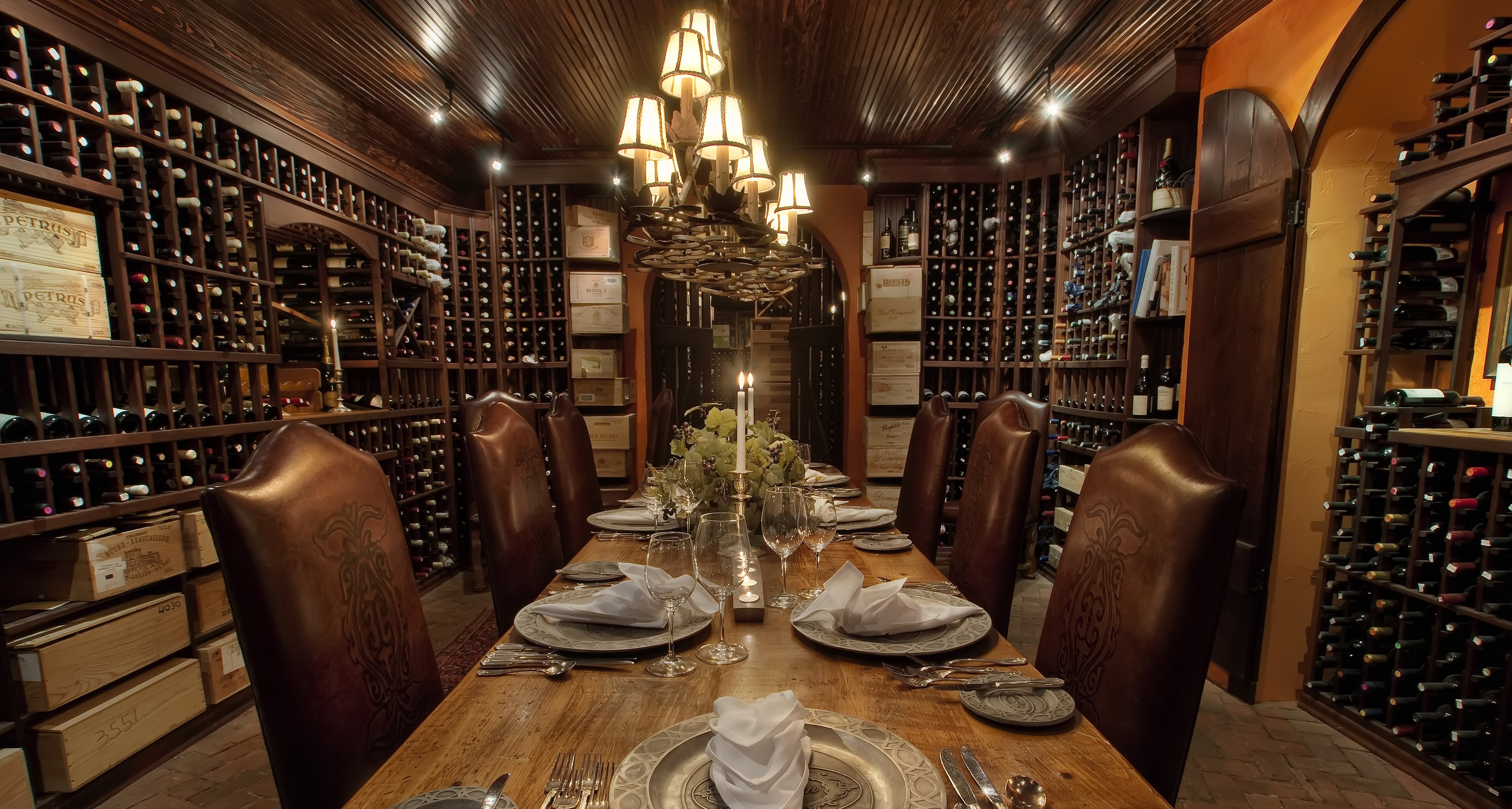 Indulge in a bottle of wine from the award-winning wine cellar containing over 17,000 bottles.