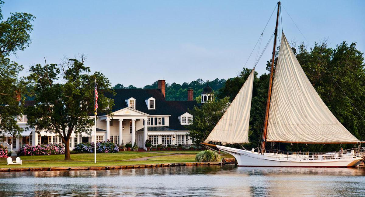 Image of Riverfront with Exterior and Sailboat, Inn at Perry Cabin in St. Michaels, Maryland, 1816, Member of Historic Hotels of America, Hot Deals